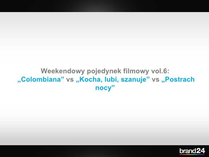 """Weekendowy pojedynek filmowy vol.6:  """" Colombiana""""  vs  """"Kocha, lubi, szanuje""""  vs  """"Postrach nocy"""""""