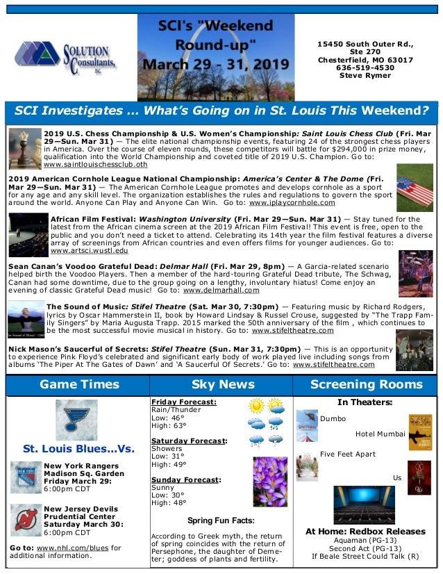 Weekend Round Up Newsletter - March 29 - 31, 2019