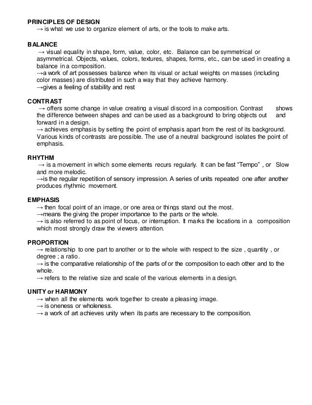 Visual Ats Types Elements and its Principles – Elements and Principles of Art Worksheet