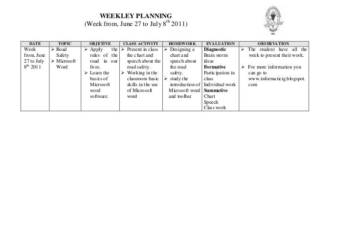 WEEKLEY PLANNING                           (Week from, June 27 to July 8th 2011)  DATE          TOPIC        OBJ ETIVE    ...