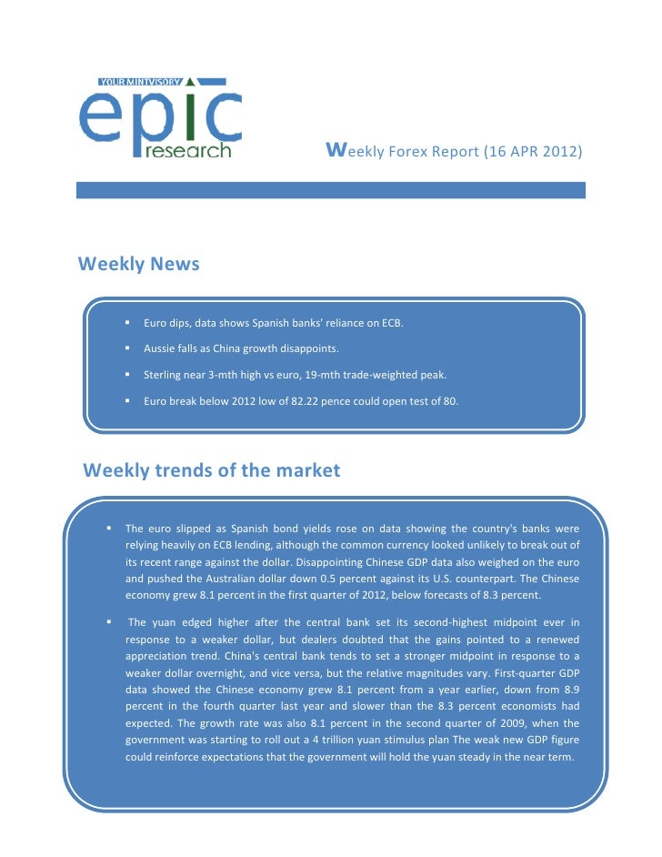 weekly Forex Report (16 APR 2012)Weekly News          Euro dips, data shows Spanish banks reliance on ECB.          Auss...
