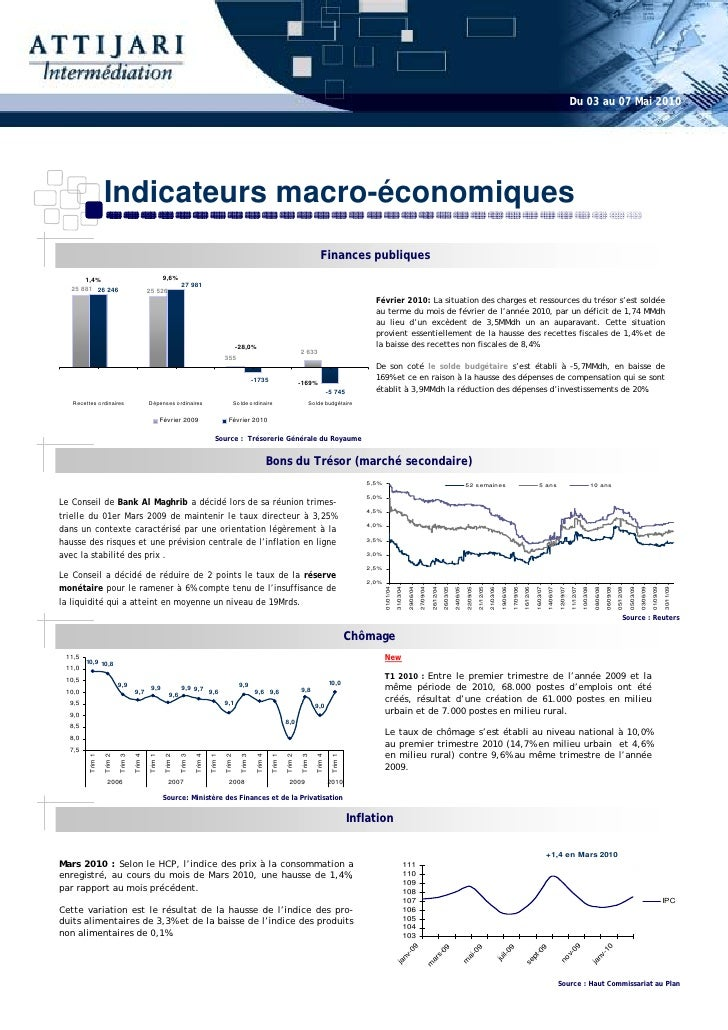 Du 03 au 07 Mai 2010                       Indicateurs macro-économiques                                                  ...
