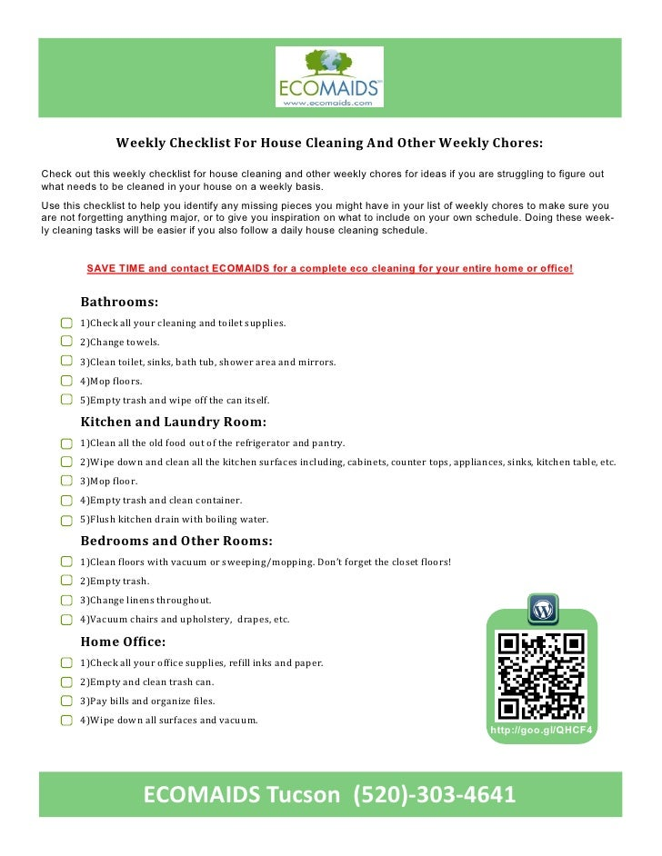 Ecomaids Tucson Home And Office Cleaning Weekly Checklist