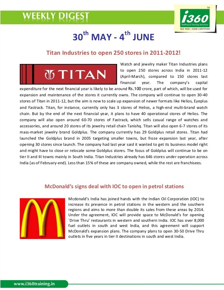30th MAY - 4th JUNE               Titan Industries to open 250 stores in 2011-2012!                                       ...
