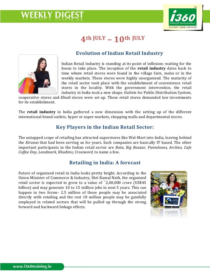 4th JULY – 10th JULY                                Evol                                Evolution of Indian Retail Industr...