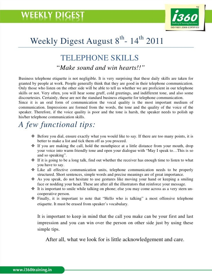 "Weekly Digest August 8th- 14th 2011                         TELEPHONE SKILLS                       ""Make sound and win hea..."