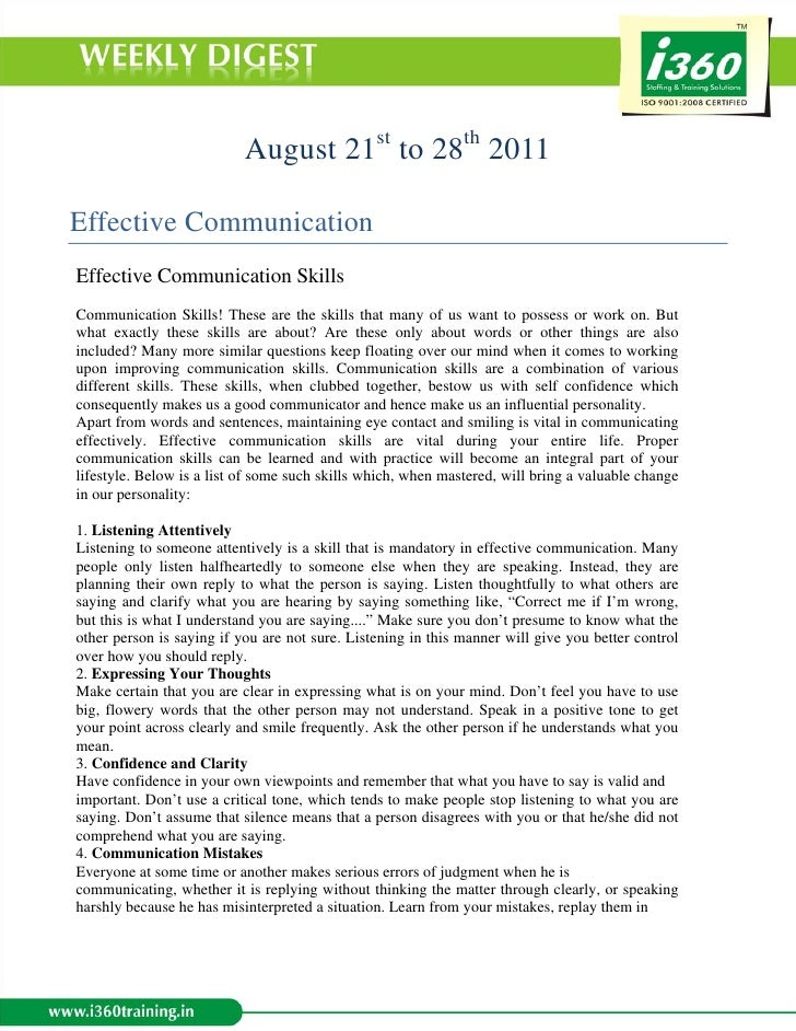 August 21st to 28th 2011Effective CommunicationEffective Communication SkillsCommunication Skills! These are the skills th...