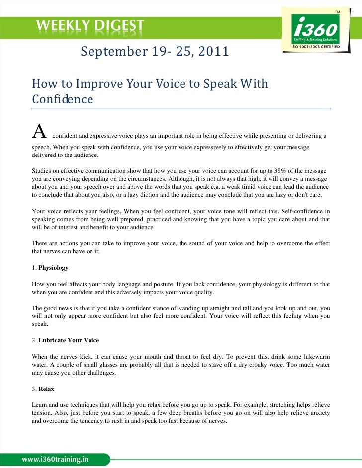 September 19‐ 25, 2011  How to Improve Your Voice to Speak With Confidence A      confident and expressive ...