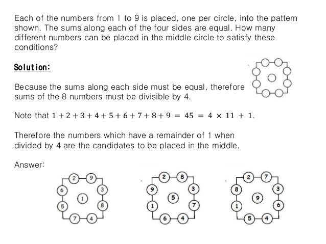 Each of the numbers from 1 to 9 is placed, one per circle, into the pattern shown. The sums along each of the four sides a...