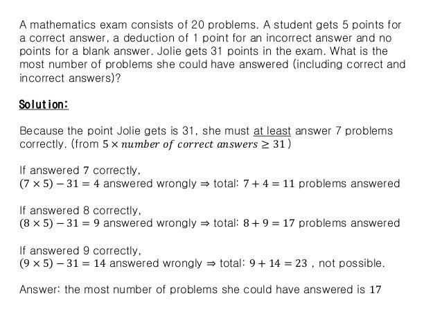 A mathematics exam consists of 20 problems. A student gets 5 points for a correct answer, a deduction of 1 point for an in...