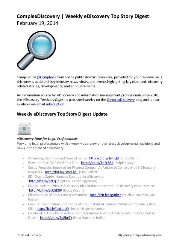 ComplexDiscovery | Weekly eDiscovery Top Story Digest February 19, 2014  Compiled by @ComplexD from online public domain r...