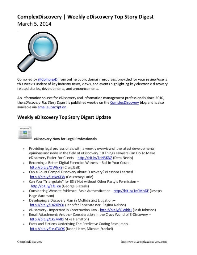 ComplexDiscovery | Weekly eDiscovery Top Story Digest March 5, 2014  Compiled by @ComplexD from online public domain resou...