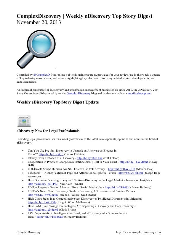 ComplexDiscovery   Weekly eDiscovery Top Story Digest November 20, 2013  Compiled by @ComplexD from online public domain r...