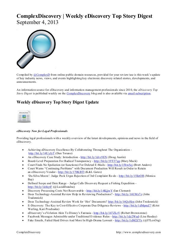 ComplexDiscovery http:://www.complexdiscovery.com ComplexDiscovery | Weekly eDiscovery Top Story Digest September 4, 2013 ...