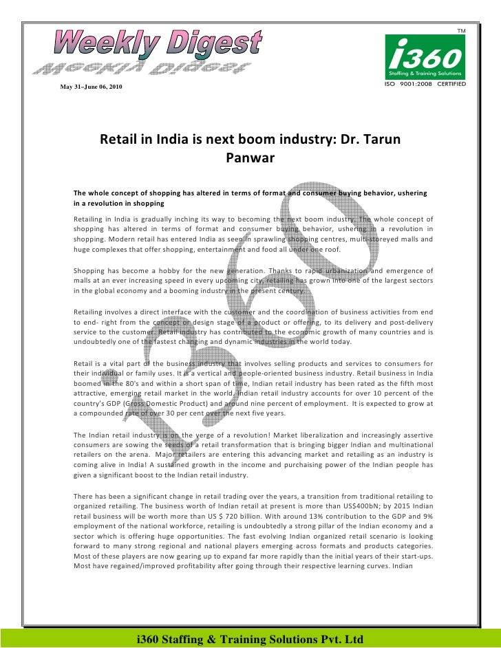 May 31–June 06, 2010                 Retail in India is next boom industry: Dr. Tarun                                   Pa...