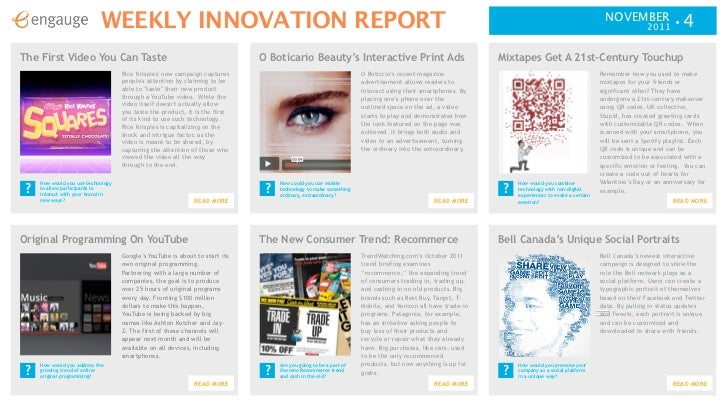WEEKLY INNOVATION REPORT                                                                                                  ...