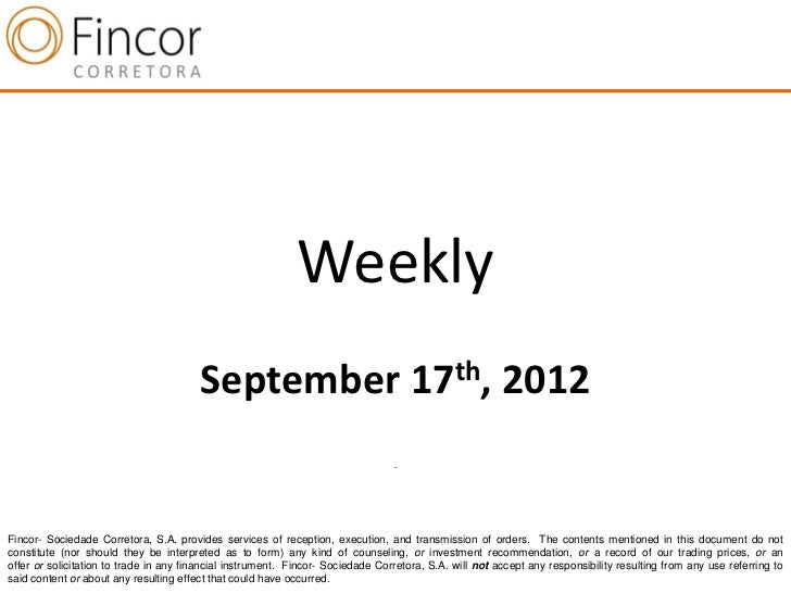 Weekly                                        September 17th, 2012                                                        ...