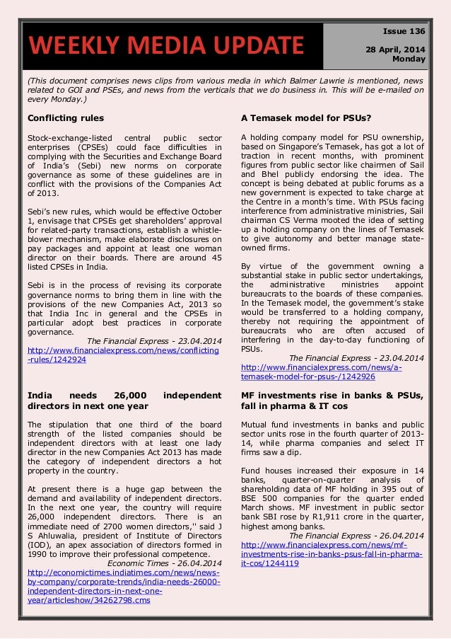 (This document comprises news clips from various media in which Balmer Lawrie is mentioned, news related to GOI and PSEs, ...