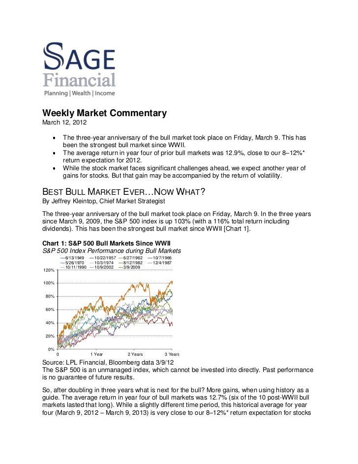 Weekly Market CommentaryMarch 12, 2012           The three-year anniversary of the bull market took place on Friday, March...