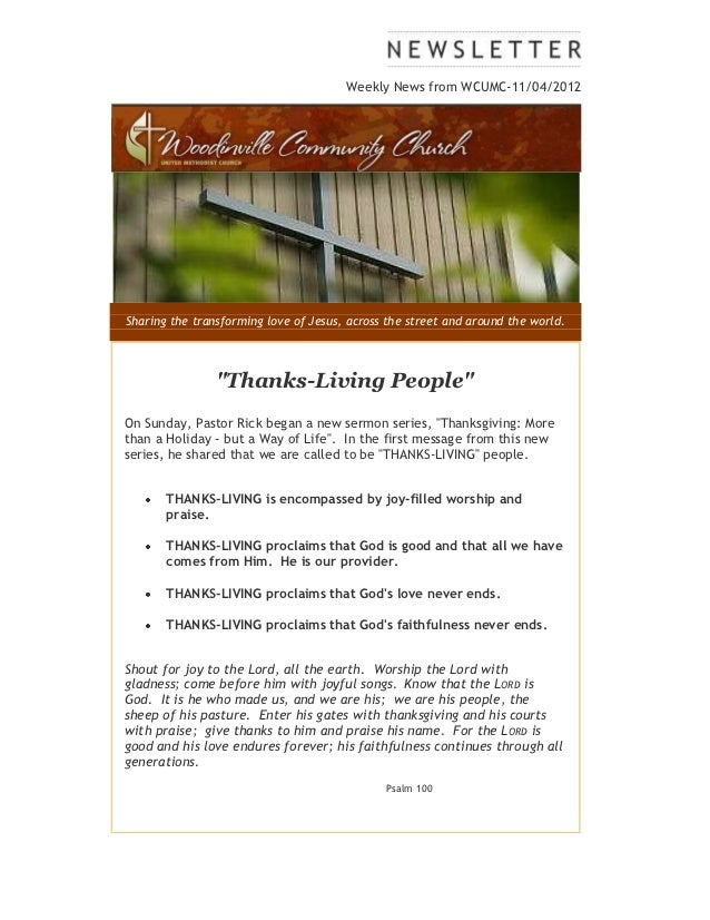 Weekly News from WCUMC-11/04/2012Sharing the transforming love of Jesus, across the street and around the world.          ...