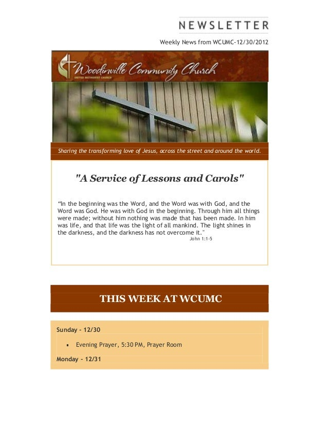 """Weekly News from WCUMC-12/30/2012Sharing the transforming love of Jesus, across the street and around the world.      """"A S..."""