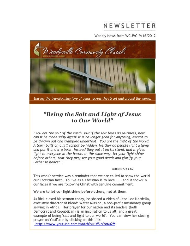 """Weekly News from WCUMC-9/16/2012Sharing the transforming love of Jesus, across the street and around the world.      """"Bein..."""