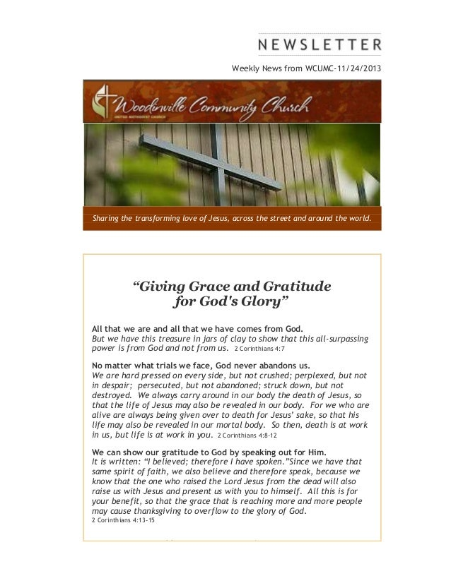 """Weekly News from WCUMC-11/24/2013  Sharing the transforming love of Jesus, across the street and around the world.  """"Givin..."""