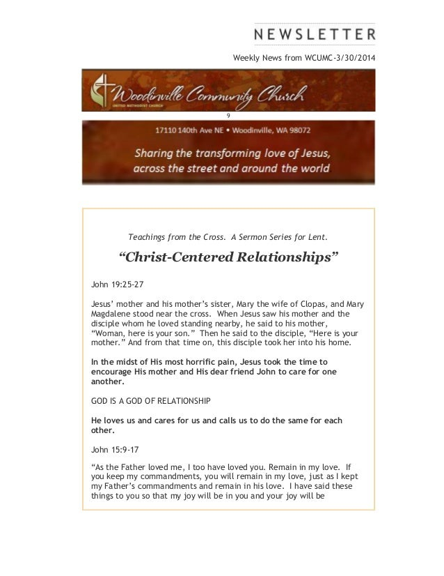 """Weekly News from WCUMC-3/30/2014 9 Teachings from the Cross. A Sermon Series for Lent. """"Christ-Centered Relationships"""" Joh..."""