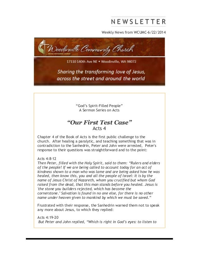 "Weekly News from WCUMC-6/22/2014 ""God's Spirit-Filled People"" A Sermon Series on Acts ""Our First Test Case"" Acts 4 Chapter..."