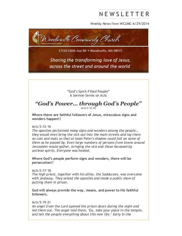 """Weekly News from WCUMC-6/29/2014 """"God's Spirit-Filled People"""" A Sermon Series on Acts """"God's Power… through God's People"""" ..."""