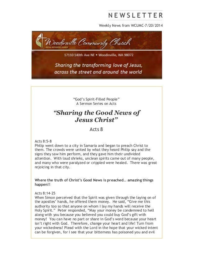 "Weekly News from WCUMC-7/20/2014 ""God's Spirit-Filled People"" A Sermon Series on Acts ""Sharing the Good News of Jesus Chri..."