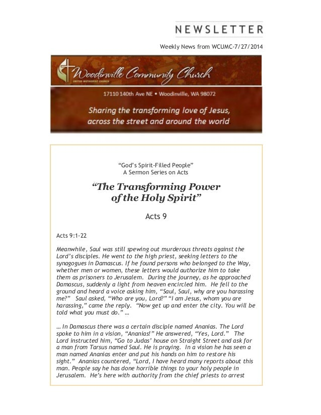 """Weekly News from WCUMC-7/27/2014 """"God's Spirit-Filled People"""" A Sermon Series on Acts """"The Transforming Power of the Holy ..."""