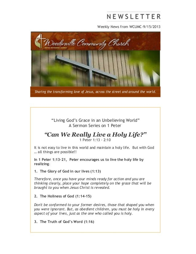 "Weekly News from WCUMC-9/15/2013 Sharing the transforming love of Jesus, across the street and around the world. ""Living G..."