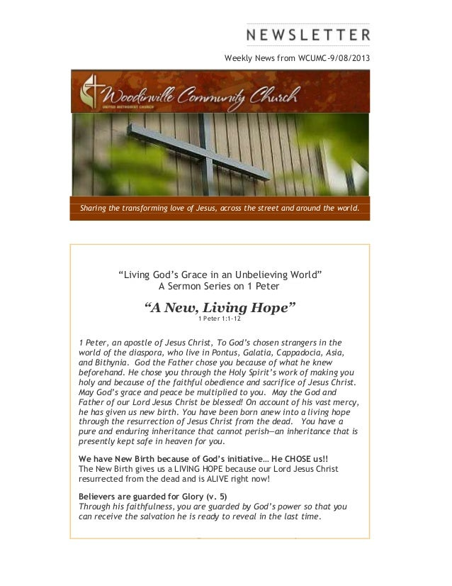 "Weekly News from WCUMC-9/08/2013 Sharing the transforming love of Jesus, across the street and around the world. ""Living G..."