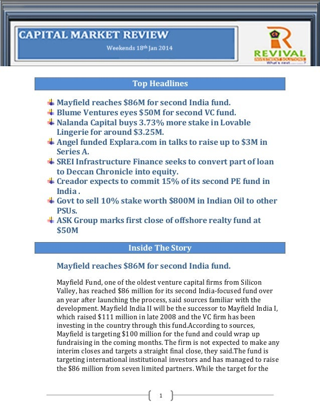 Top Headlines Mayfield reaches $86M for second India fund. Blume Ventures eyes $50M for second VC fund. Nalanda Capital bu...