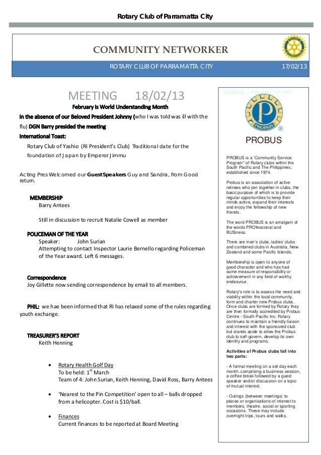 Rotary Club of Parramatta City                                COMMUNITY NETWORKER                                       RO...