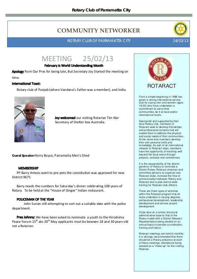 Rotary Club of Parramatta City                                COMMUNITY NETWORKER                                      ROT...