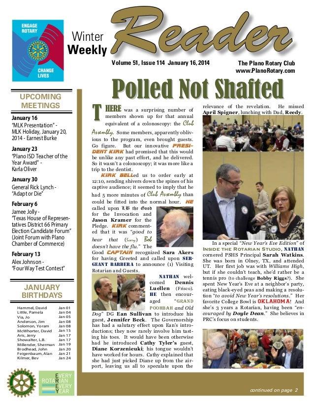 "Winter Weekly  Reader Volume 51, Issue 114 January 16, 2014  UPCOMING MEETINGS January 16 ""MLK Presentation"" MLK Holiday, ..."