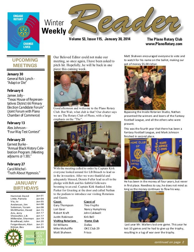 Winter Weekly  Reader Volume 53, Issue 115, January 30, 2014  UPCOMING MEETINGS  Our Beloved Editor could not make our mee...