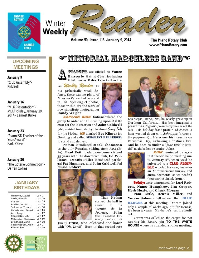 "Winter Weekly  Reader Volume 50, Issue 113 January 9, 2014  UPCOMING MEETINGS January 9 ""Club Assembly""Kirk Bell  FMemoria..."