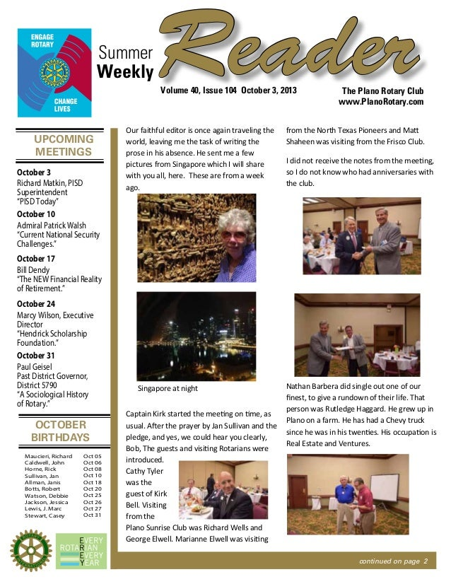 UPCOMING MEETINGS OCTOBER BIRTHDAYS ReaderSummer The Plano Rotary Club www.PlanoRotary.com Volume 40, Issue 104 October 3,...