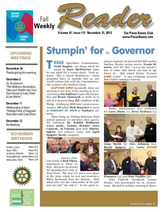 Fall Weekly  Reader Volume 47, Issue 111 November 21, 2013  UPCOMING MEETINGS November 28 Thanksgiving-No meeting December...