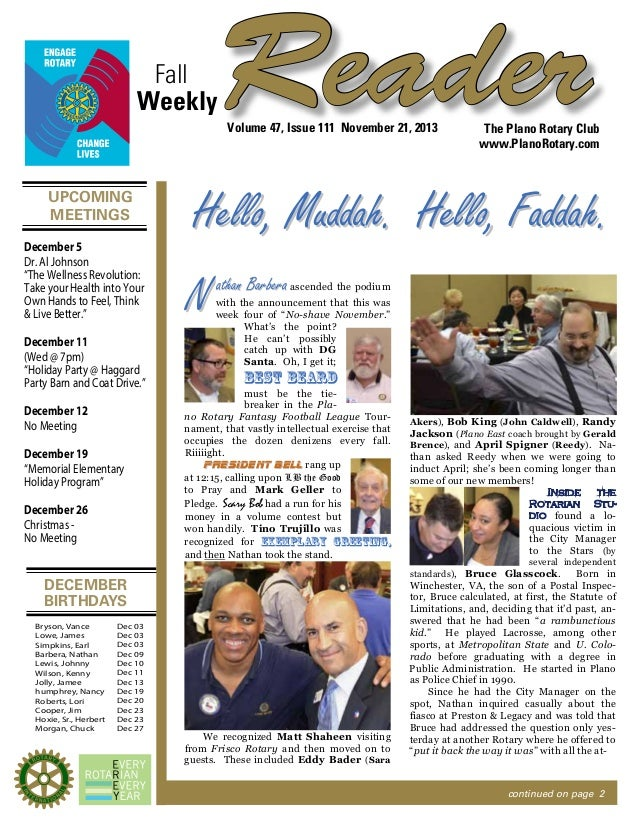 "Fall Weekly  Reader Volume 47, Issue 111 November 21, 2013  UPCOMING MEETINGS December 5 Dr. Al Johnson ""The Wellness Revo..."