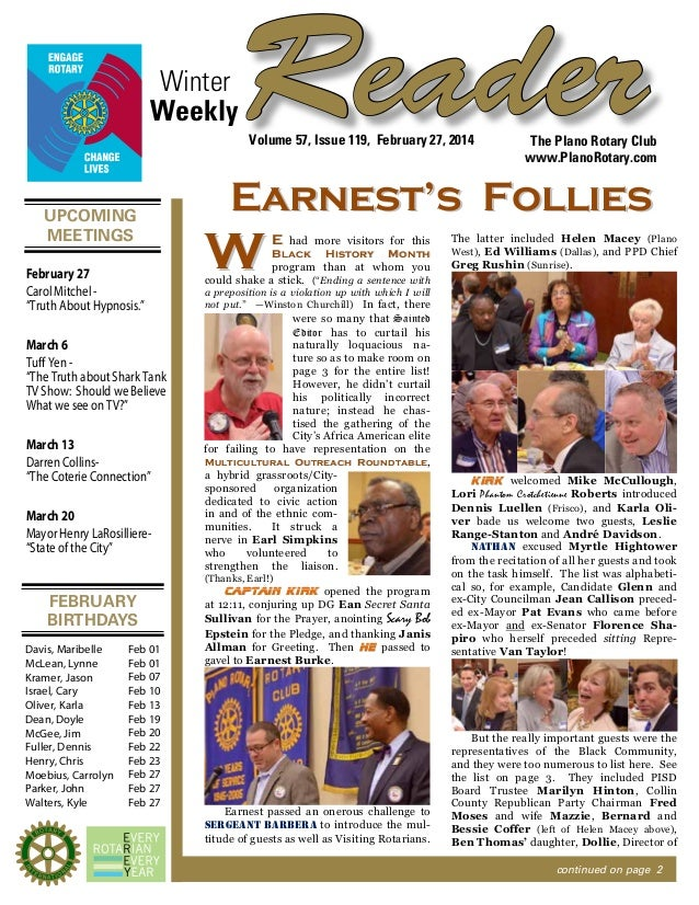"Winter Weekly  Reader Volume 57, Issue 119, February 27, 2014  UPCOMING MEETINGS February 27 Carol Mitchel ""Truth About Hy..."