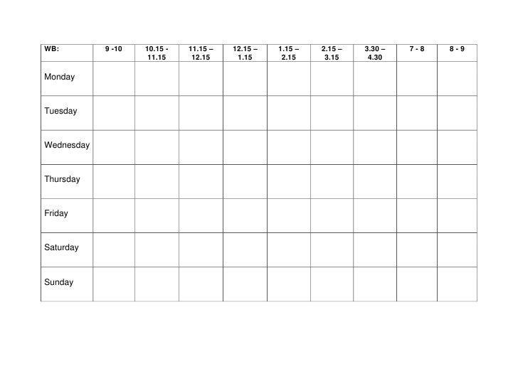 Weekly Revision Timetable. WB:9  1010.15   11.1511.15 U2013 12.1512.15 U2013 1.151. Awesome Ideas