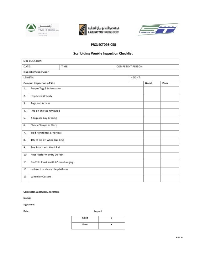 Weekly scaffolding checklist for Scaffold inspection checklist free template