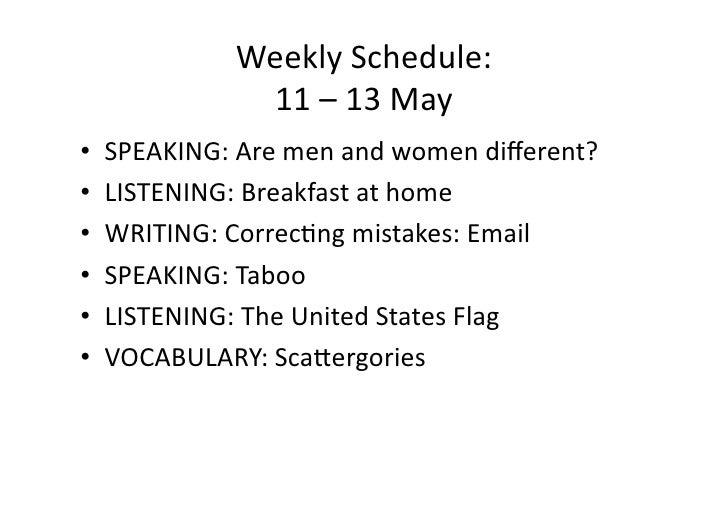 WeeklySchedule:              11–13May • SPEAKING:Aremenandwomendifferent? • LISTENING:Breakfastathome • ...