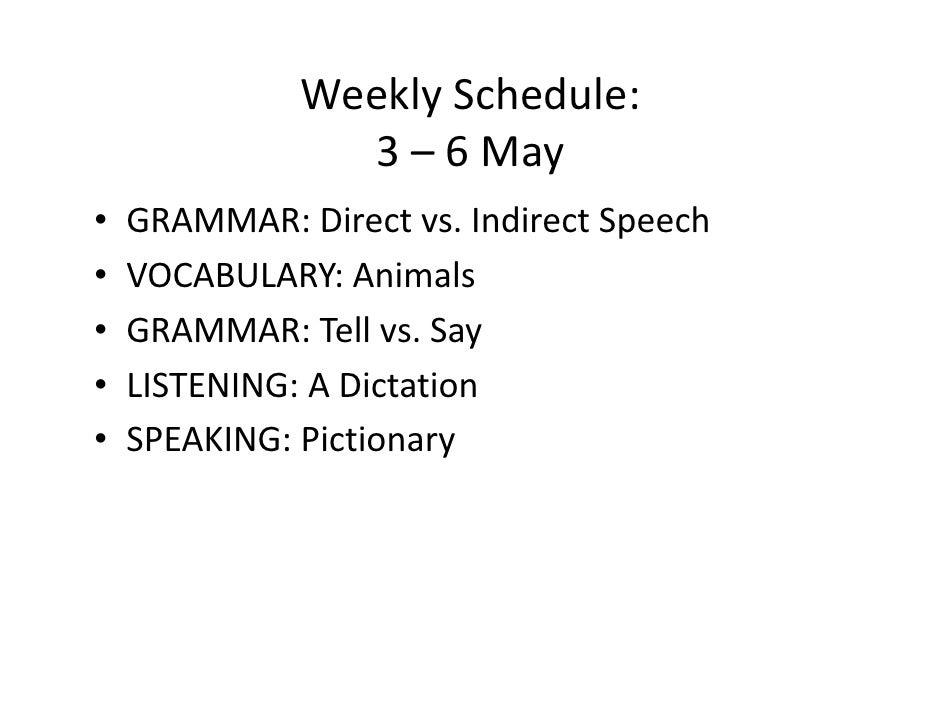 Weekly Schedule:                  3 – 6 May •   GRAMMAR: Direct vs. Indirect Speech •   VOCABULARY: Animals •   GRAMMAR: T...