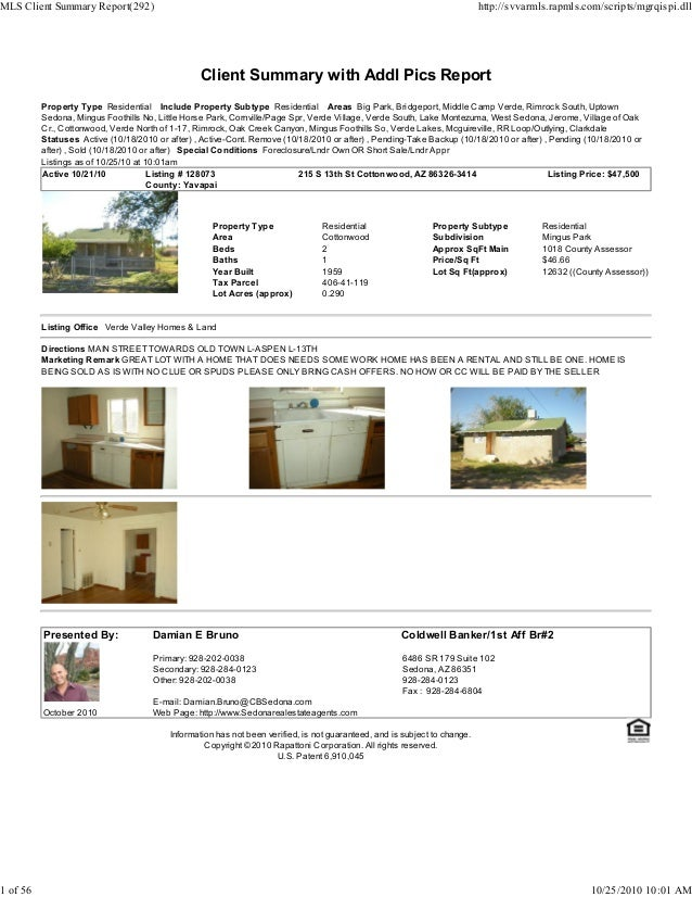 Client Summary with Addl Pics Report Property Type Residential Include Property Subtype Residential Areas Big Park, Bridge...