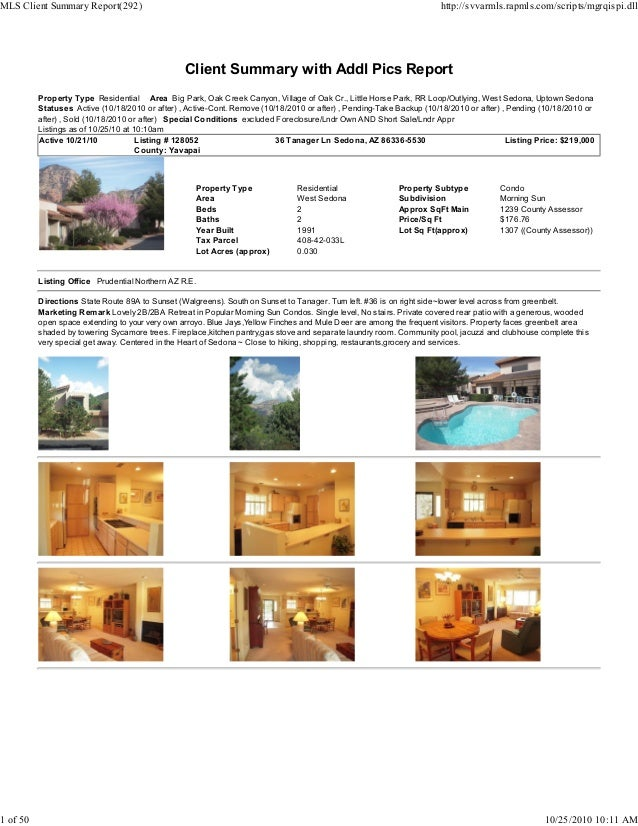 Client Summary with Addl Pics Report Property Type Residential Area Big Park, Oak Creek Canyon, Village of Oak Cr., Little...